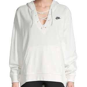 Nike Club White Lace-Up French Terry Hoodie